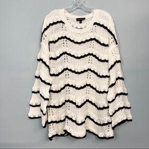 Lane Bryant Open Knit Chevron Bell Sleeve Sweater
